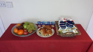 Breakfast menu - cereals, fruit, yoghurt, full english